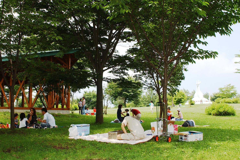 富士見湖公園的休息區