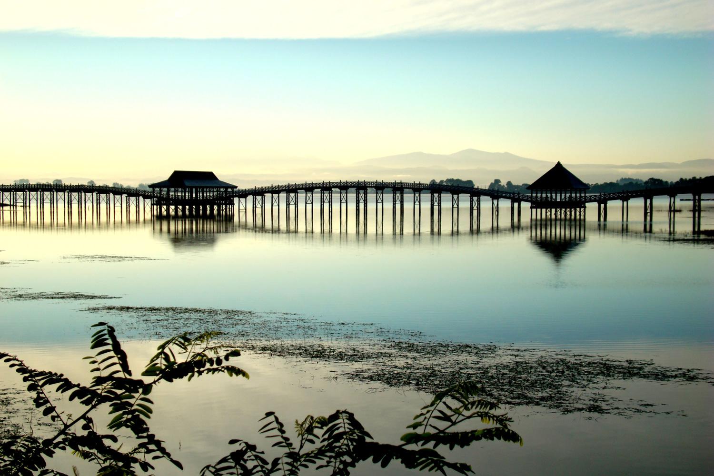 津軽富士見湖 飛舞於湖面上的鶴